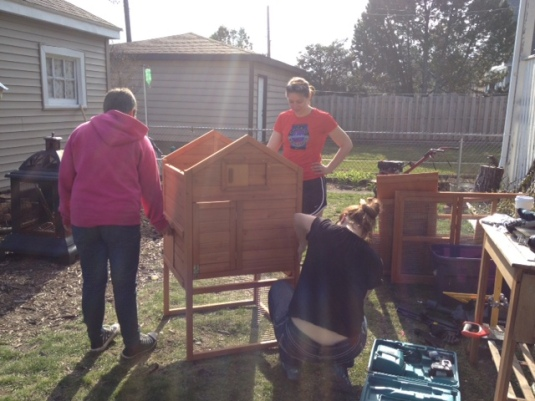 Since the foundation took way longer that anyone anticipated the girls started work on assembling the coop.